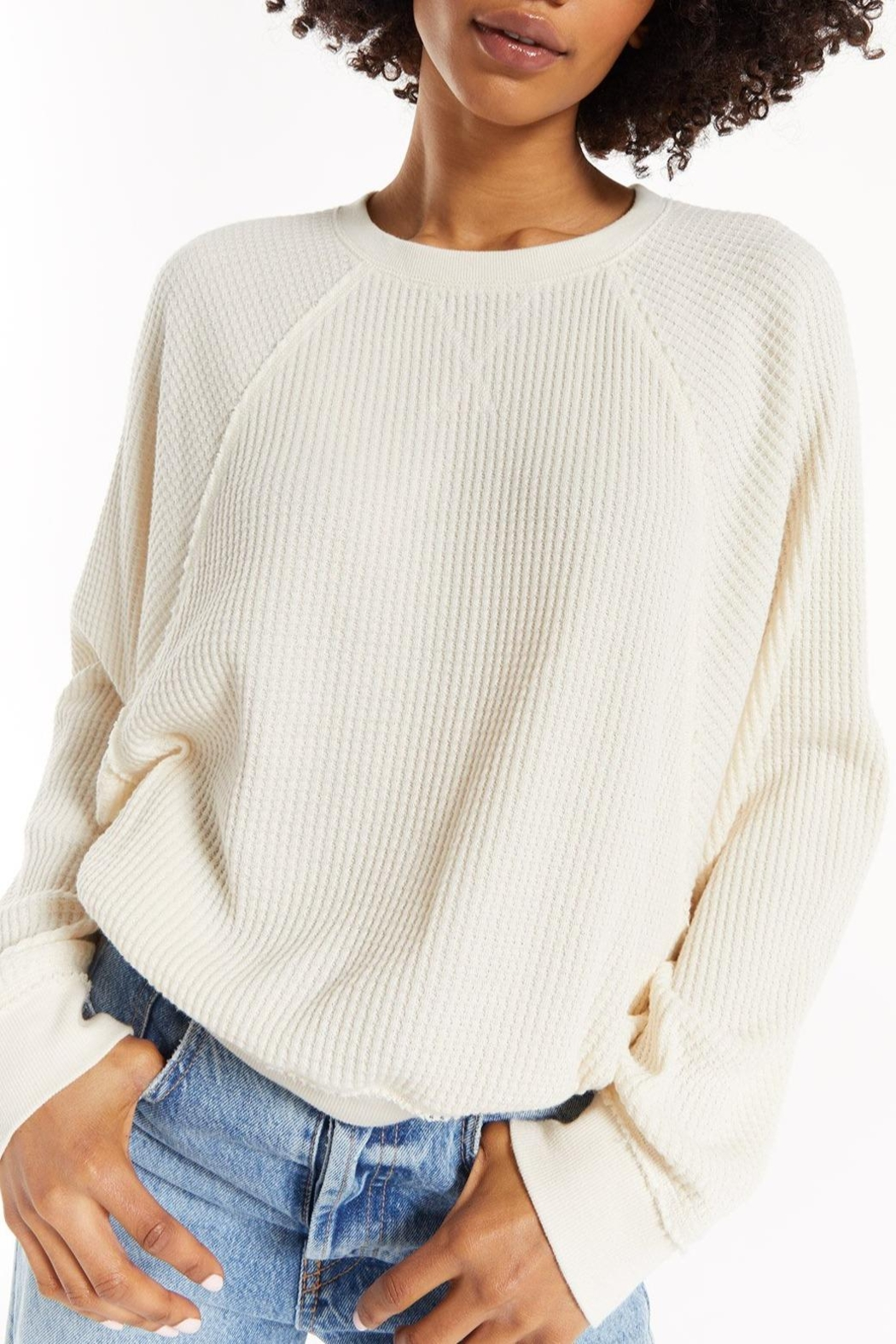z supply Claire Waffle Pullover - Main Image