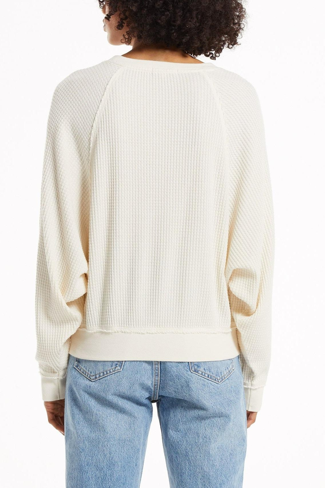 z supply Claire Waffle Pullover - Side Cropped Image