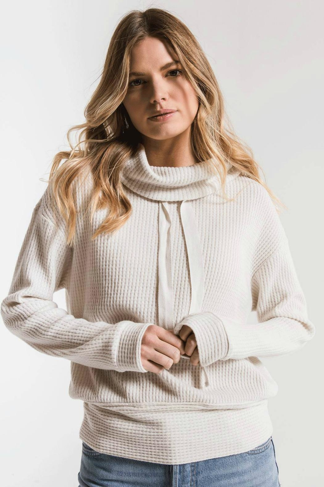 z supply Cowl Neck Waffle - Front Cropped Image