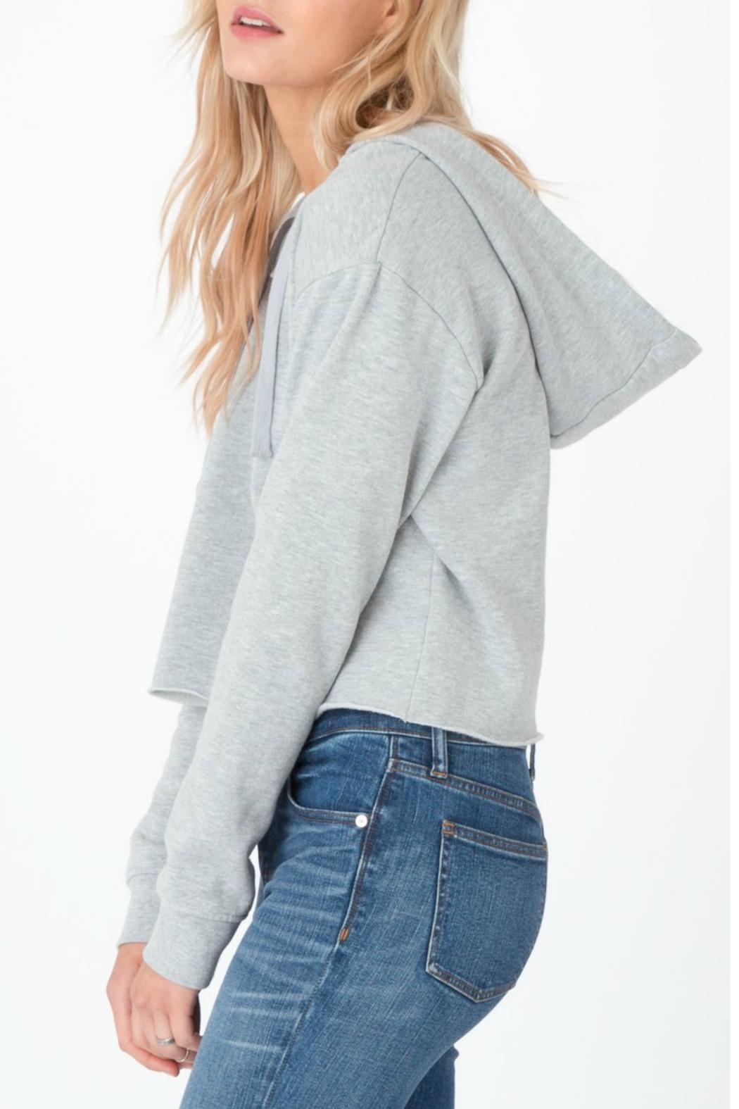 z supply Cropped Lace Up Hoodie - Front Full Image