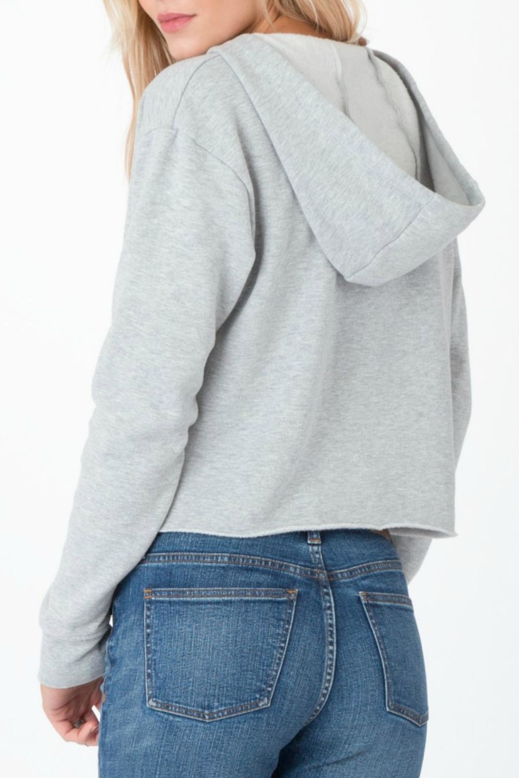 z supply Cropped Lace Up Hoodie - Side Cropped Image