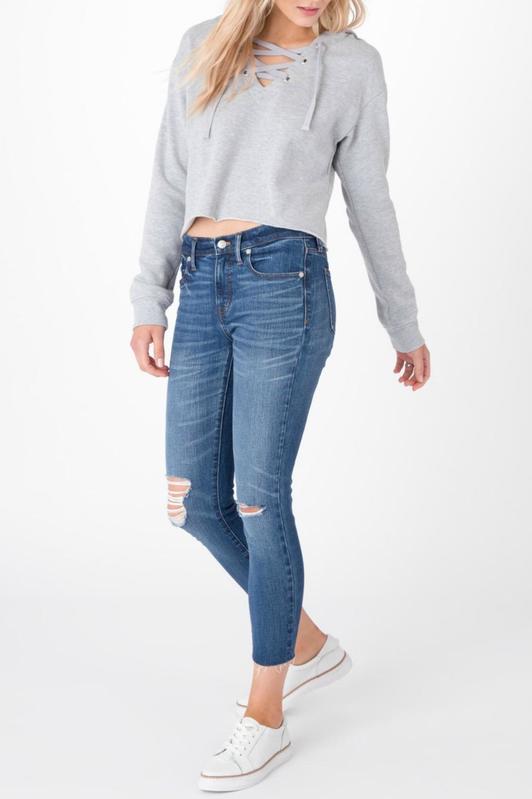 z supply Cropped Lace Up Hoodie - Main Image