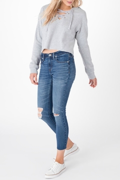 Shoptiques Product: Cropped Lace Up Hoodie