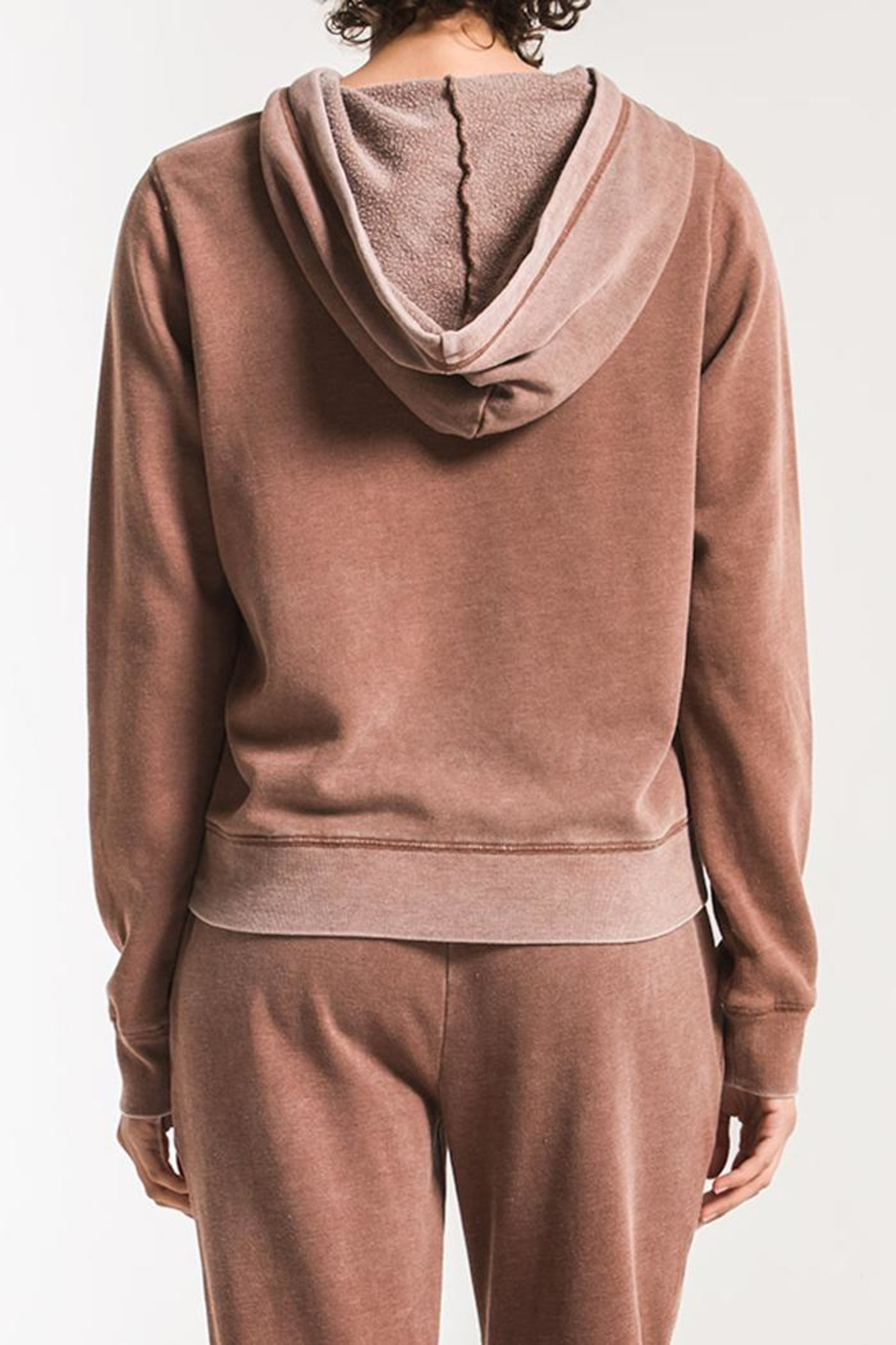 z supply Faded-Wash Pullover Hoddie - Back Cropped Image