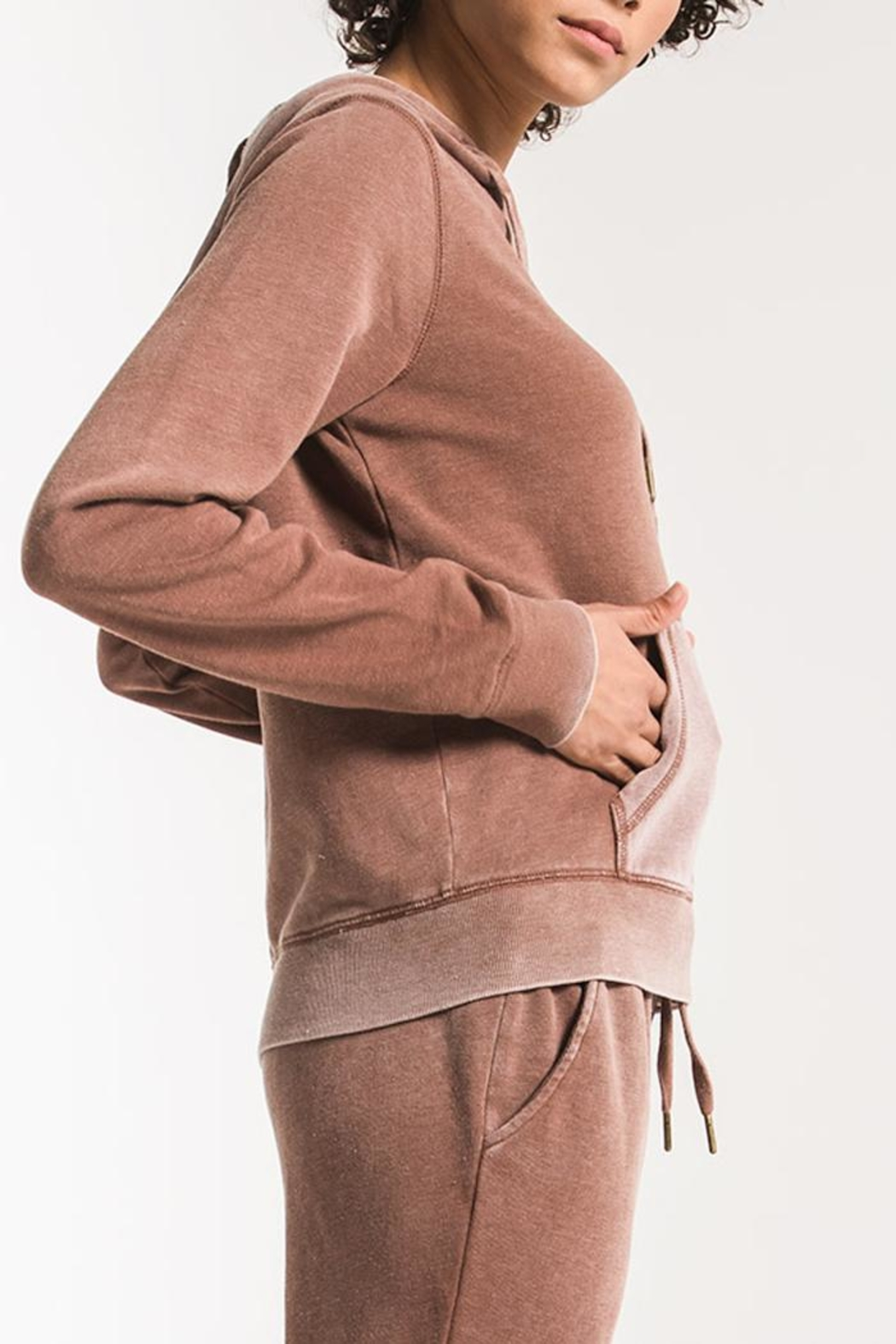 z supply Faded-Wash Pullover Hoddie - Side Cropped Image