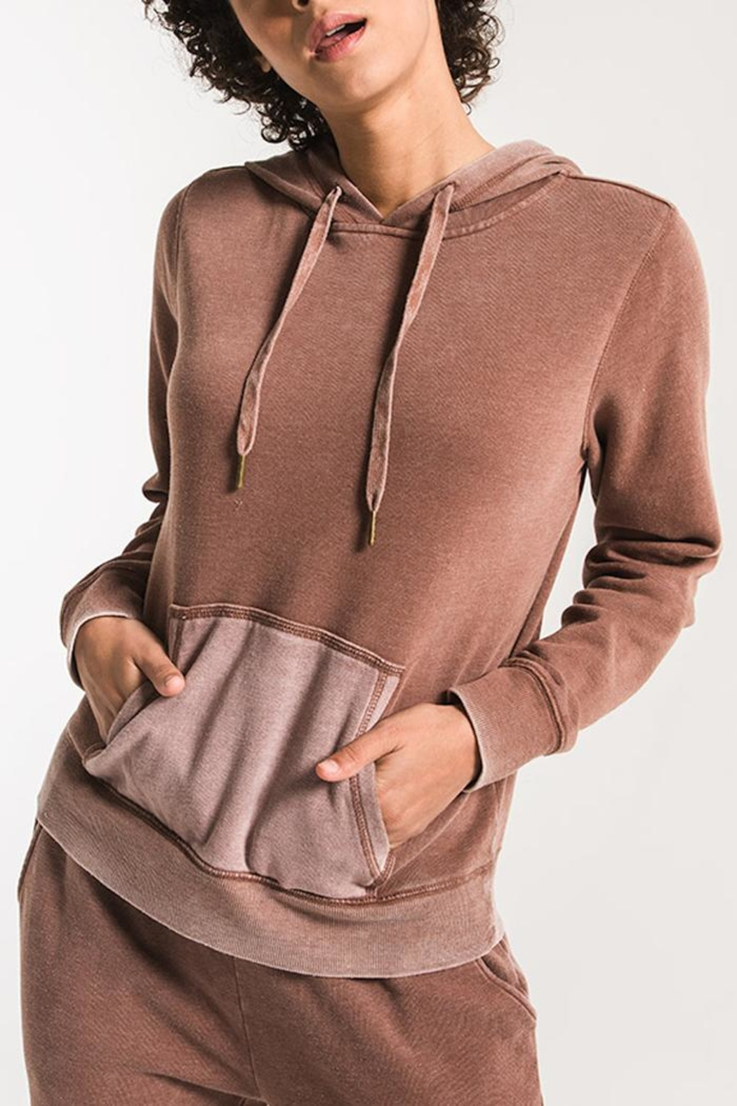 z supply Faded-Wash Pullover Hoddie - Main Image
