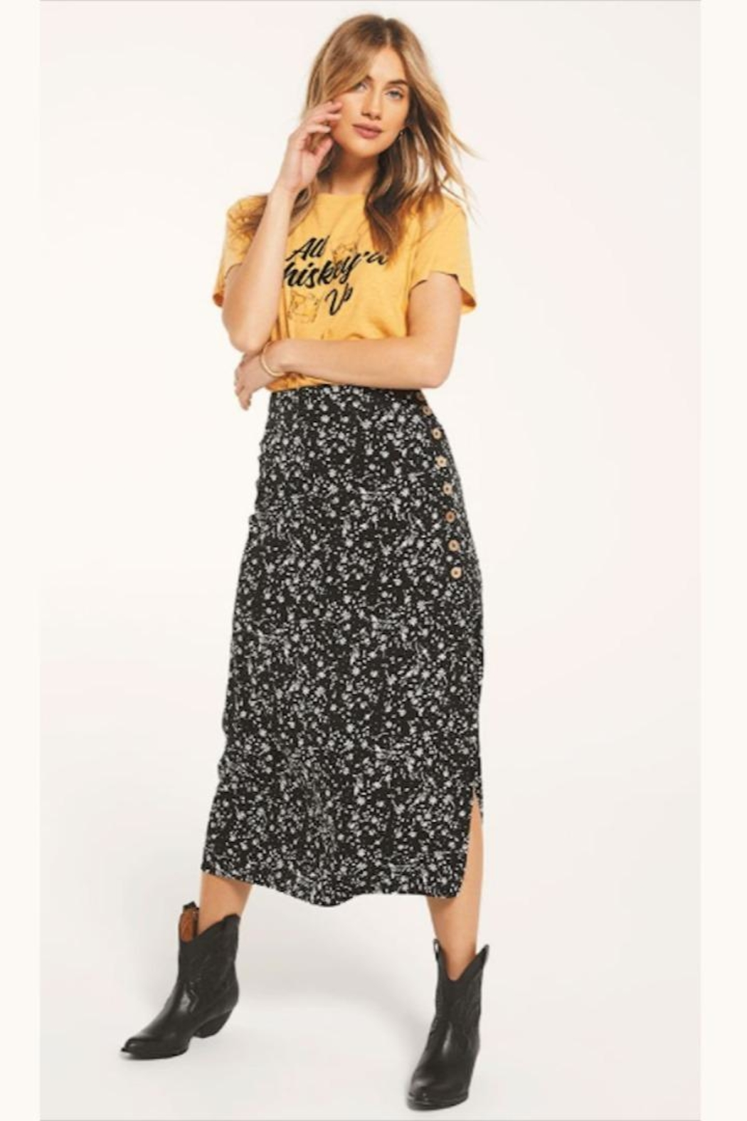 Z Supply  Floral Slitted-Midi Skirt - Main Image