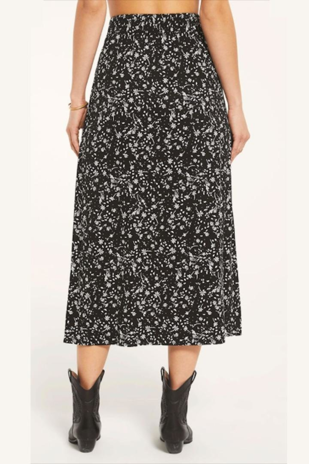 Z Supply  Floral Slitted-Midi Skirt - Side Cropped Image