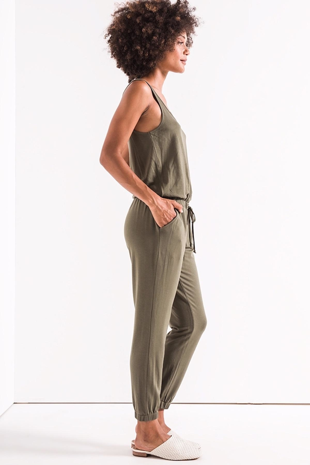 z supply Green Tank Jumpsuit - Front Full Image