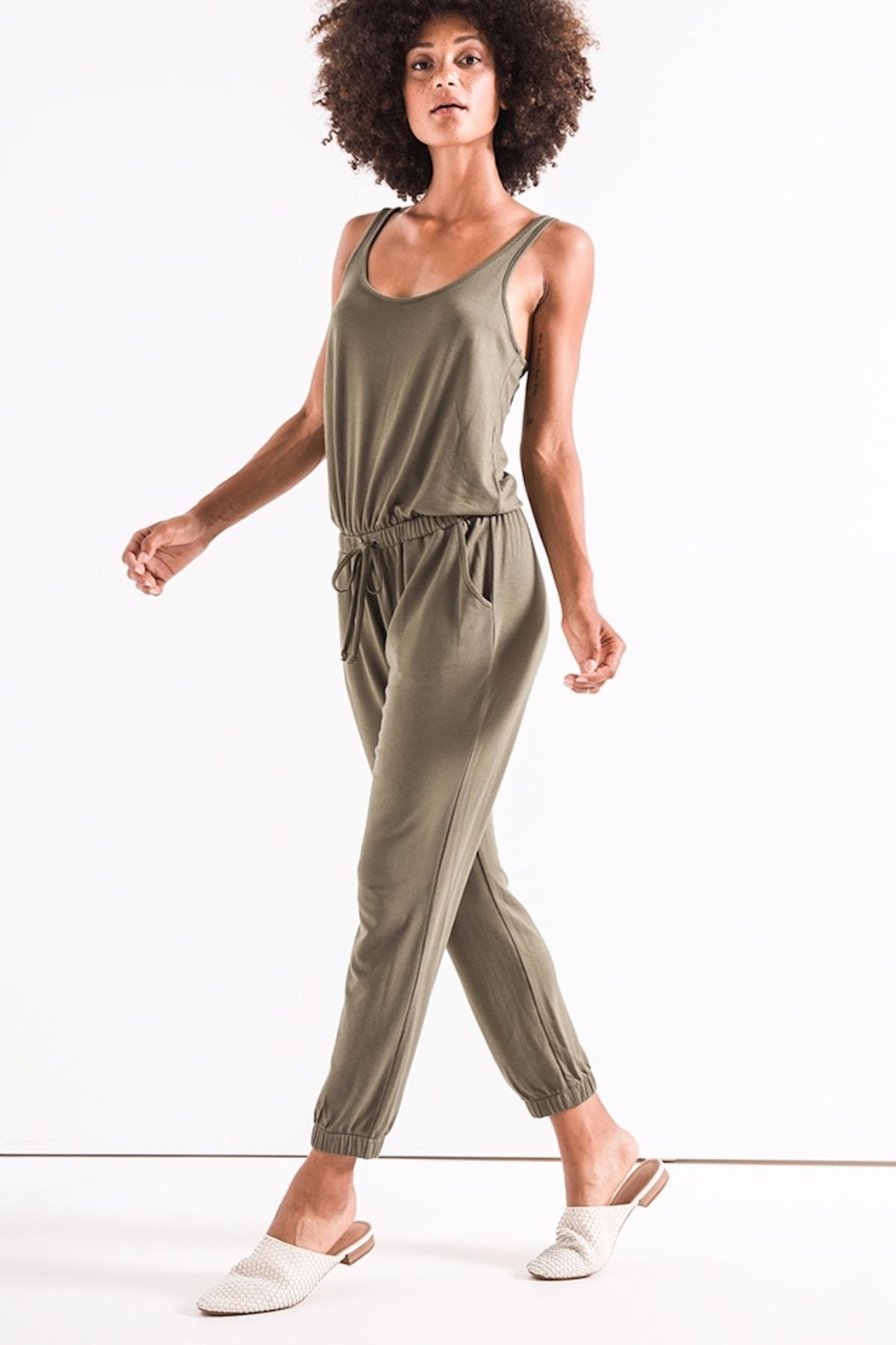 z supply Green Tank Jumpsuit - Side Cropped Image