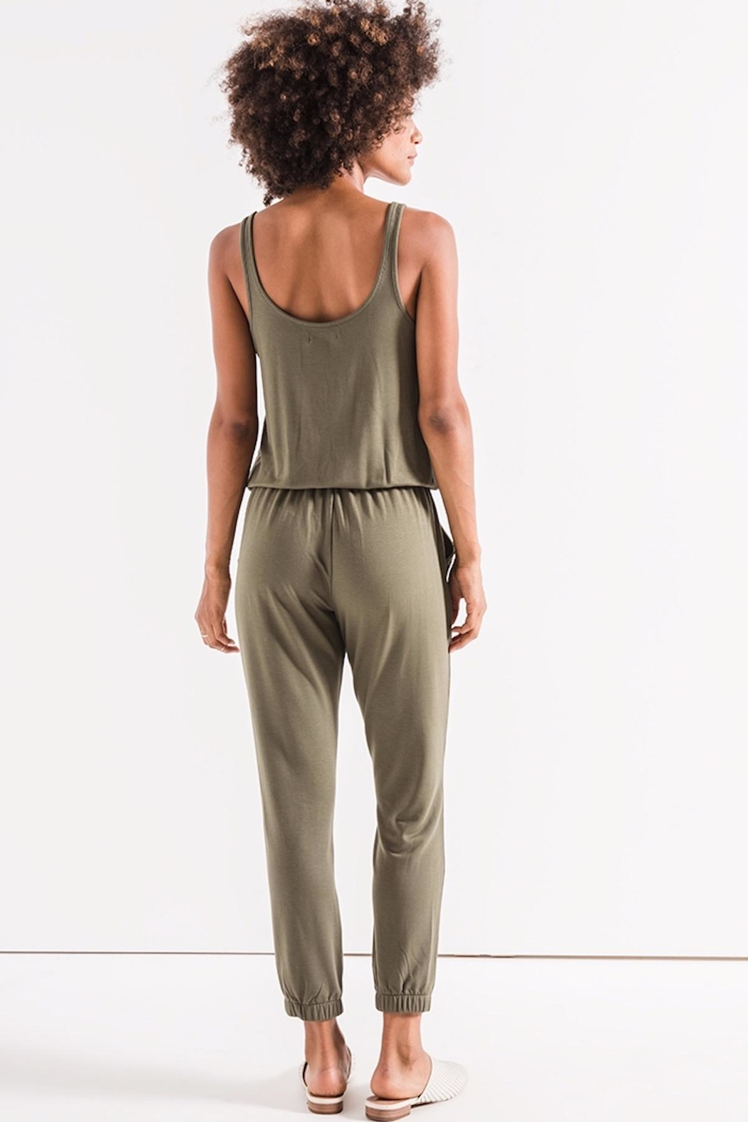 z supply Green Tank Jumpsuit - Back Cropped Image