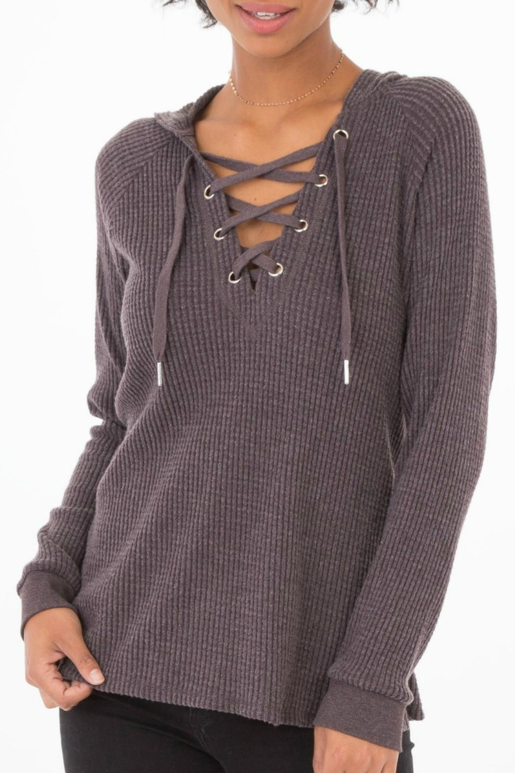 z supply Lace-Up Thermal Hoodie - Front Cropped Image