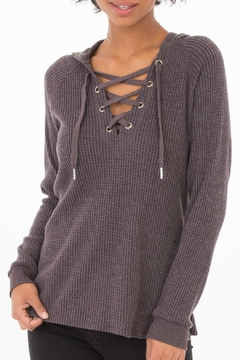 Shoptiques Product: Lace-Up Thermal Hoodie