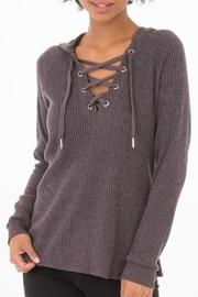 z supply Lace-Up Thermal Hoodie - Front cropped