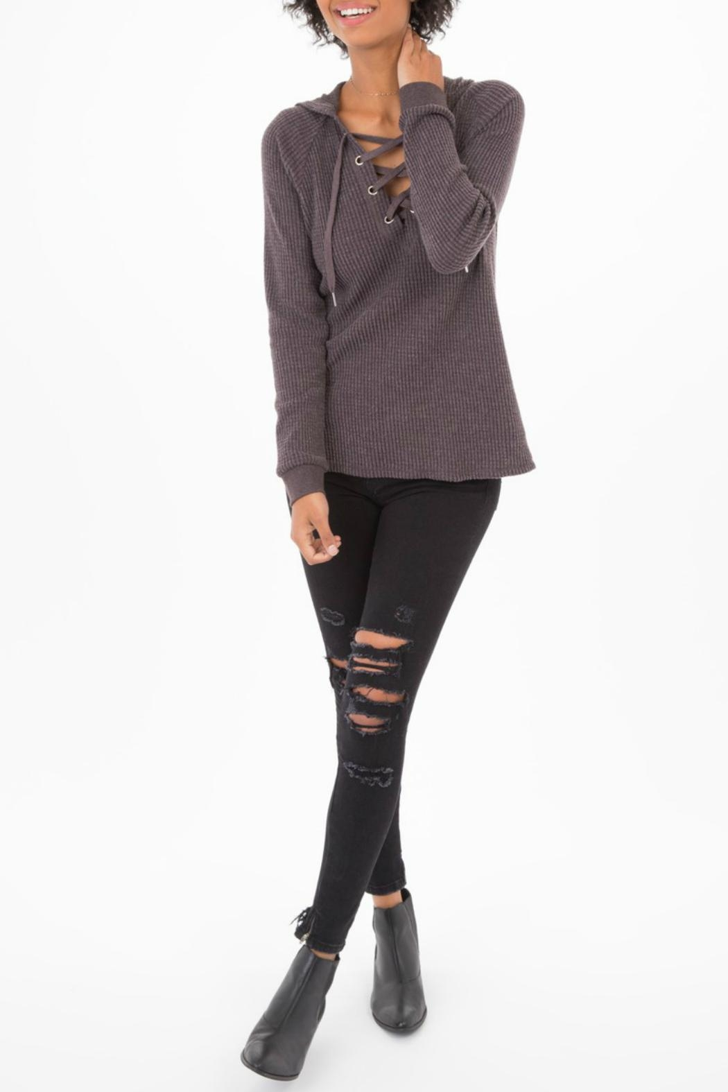 z supply Lace-Up Thermal Hoodie - Side Cropped Image