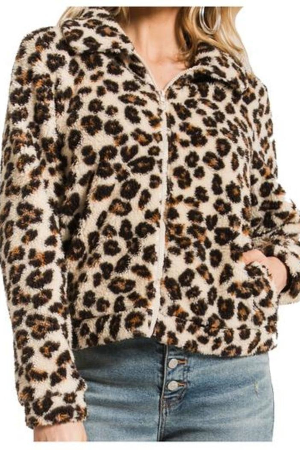 z supply Leopard Sherpa Crop - Front Cropped Image