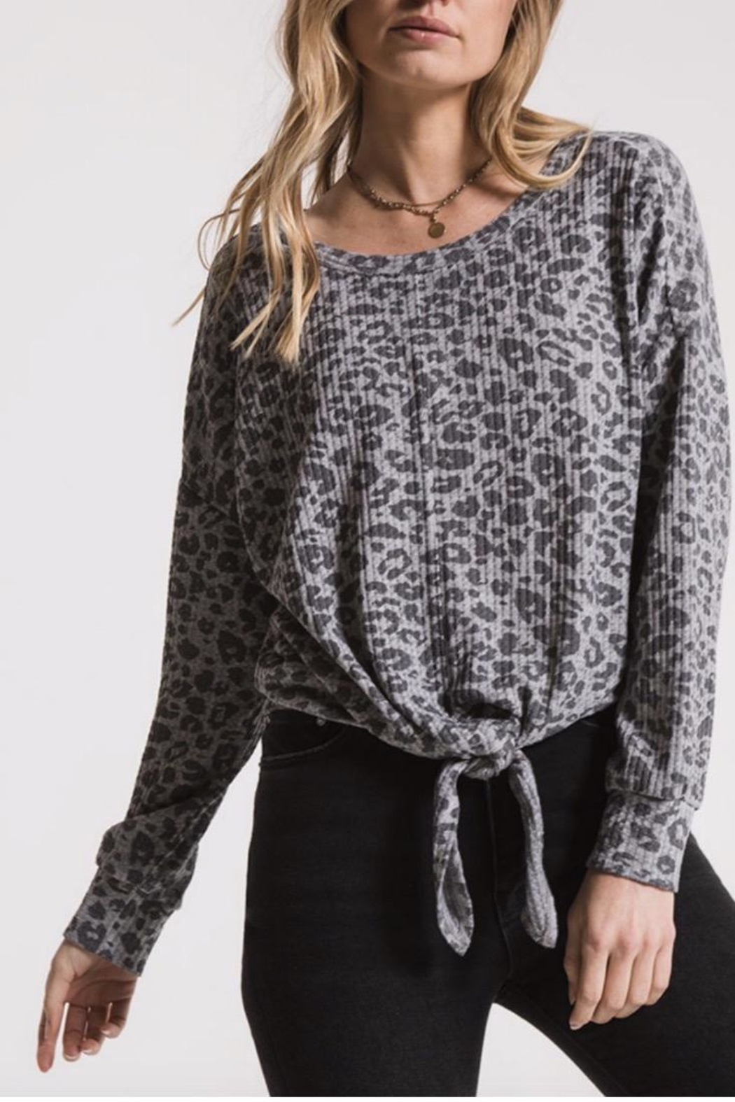 z supply Leopard Tie Sweatshirt - Front Cropped Image