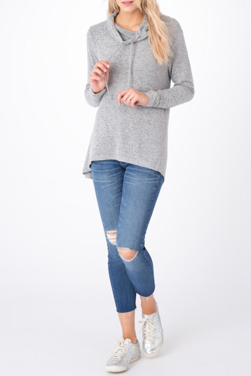 z supply Marled Cowl-Neck Sweater - Back Cropped Image