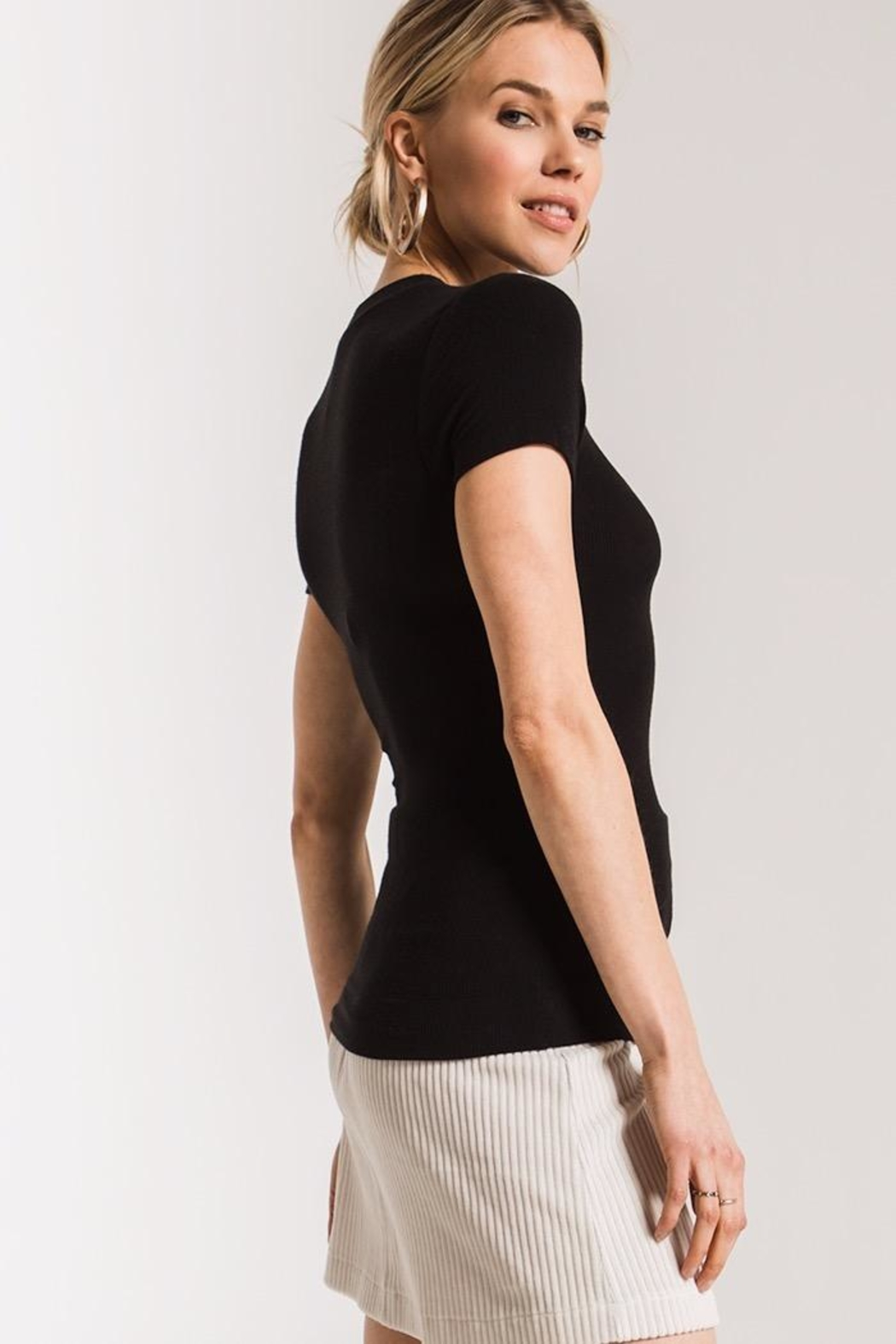 z supply Micro Rib Fitted Tee - Back Cropped Image