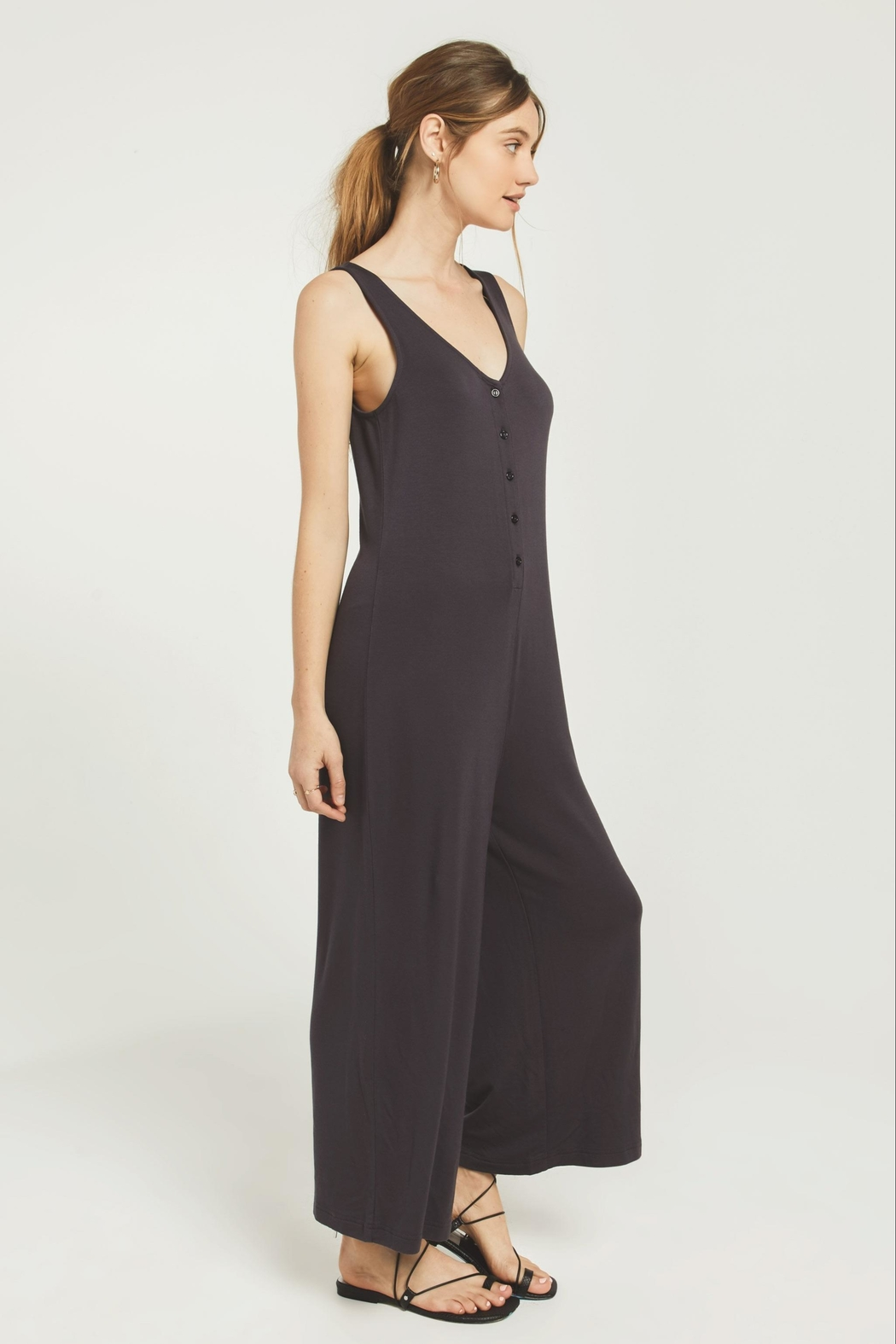 z supply Mojave Jumpsuit-Washed Black - Front Full Image