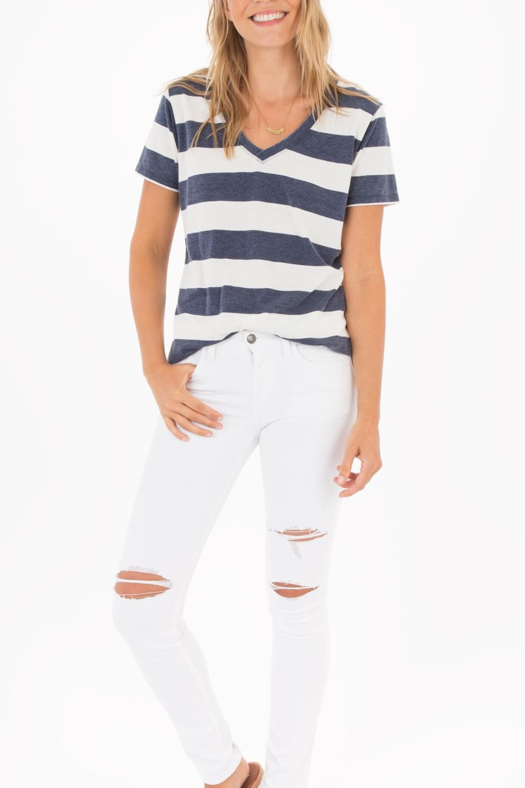 z supply Naples Striped Tee - Back Cropped Image