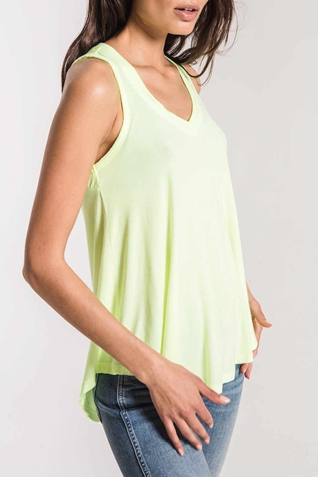 z supply Neon Lime Tank - Back Cropped Image