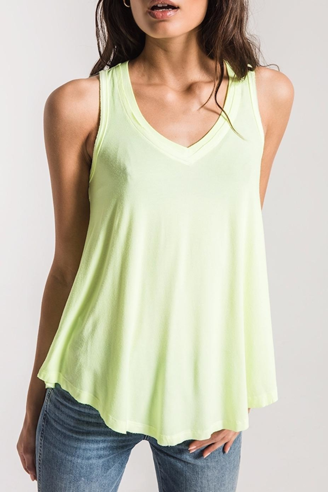 z supply Neon Lime Tank - Side Cropped Image