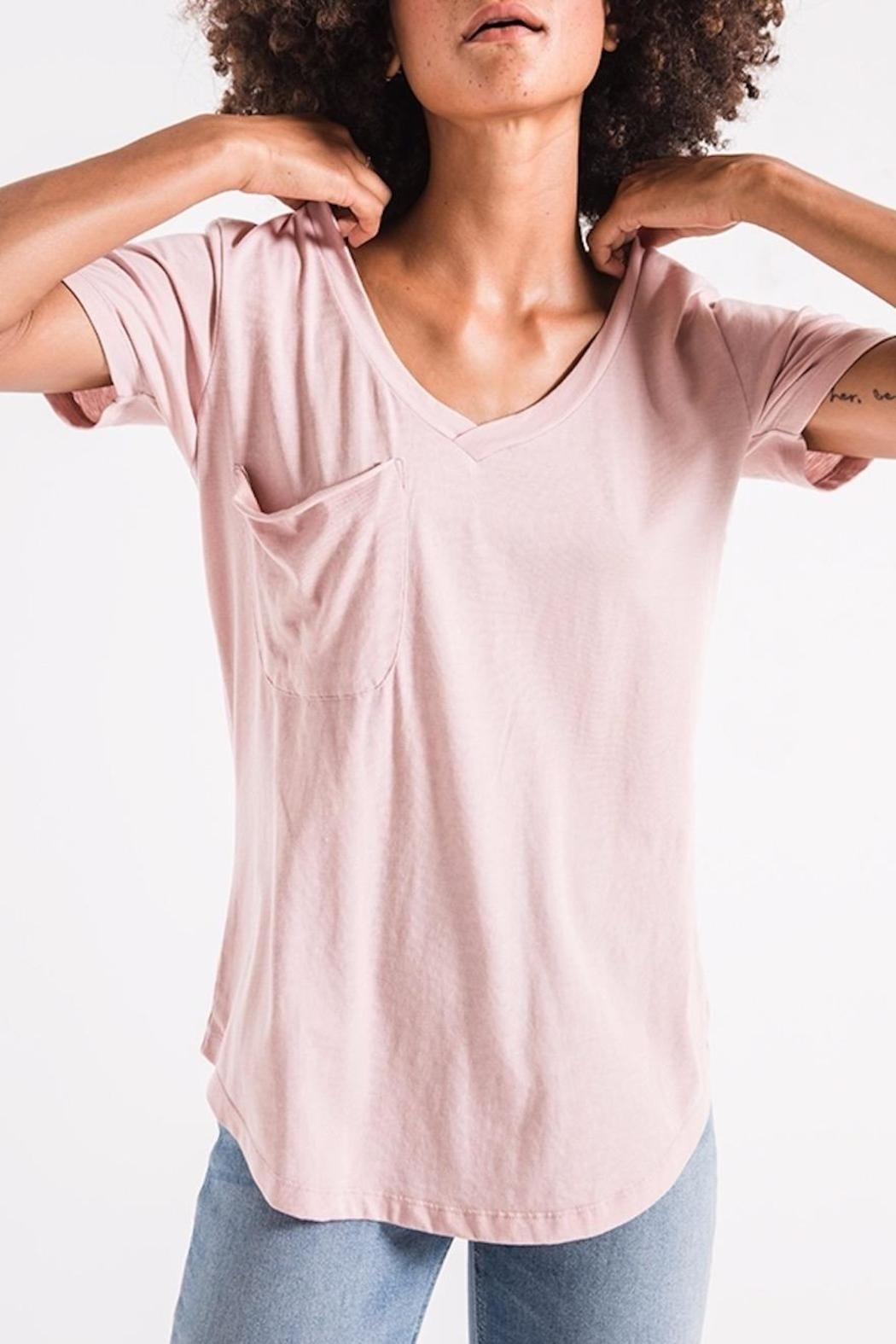 z supply Pink Pocket Tee - Front Full Image