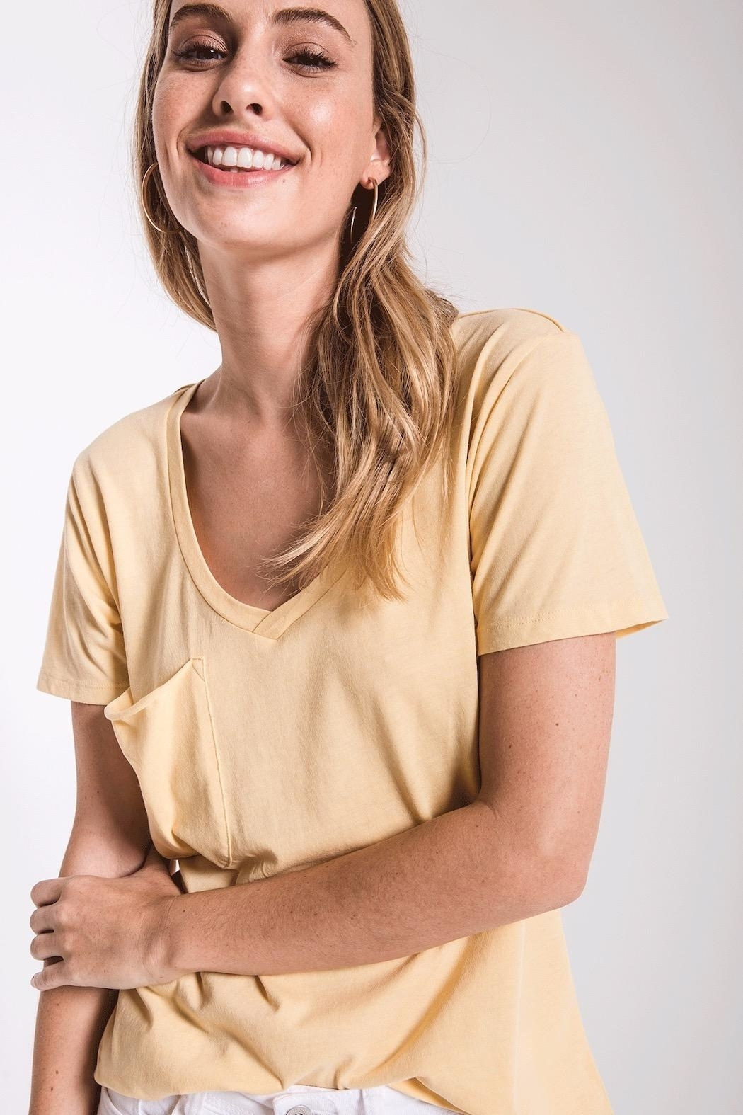 z supply Pink Pocket Tee - Front Cropped Image