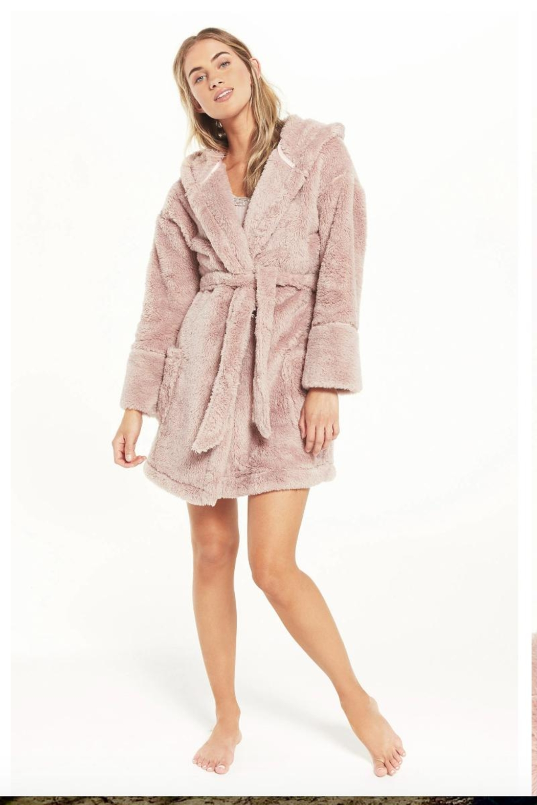 z supply Plush Pink Robe - Front Cropped Image