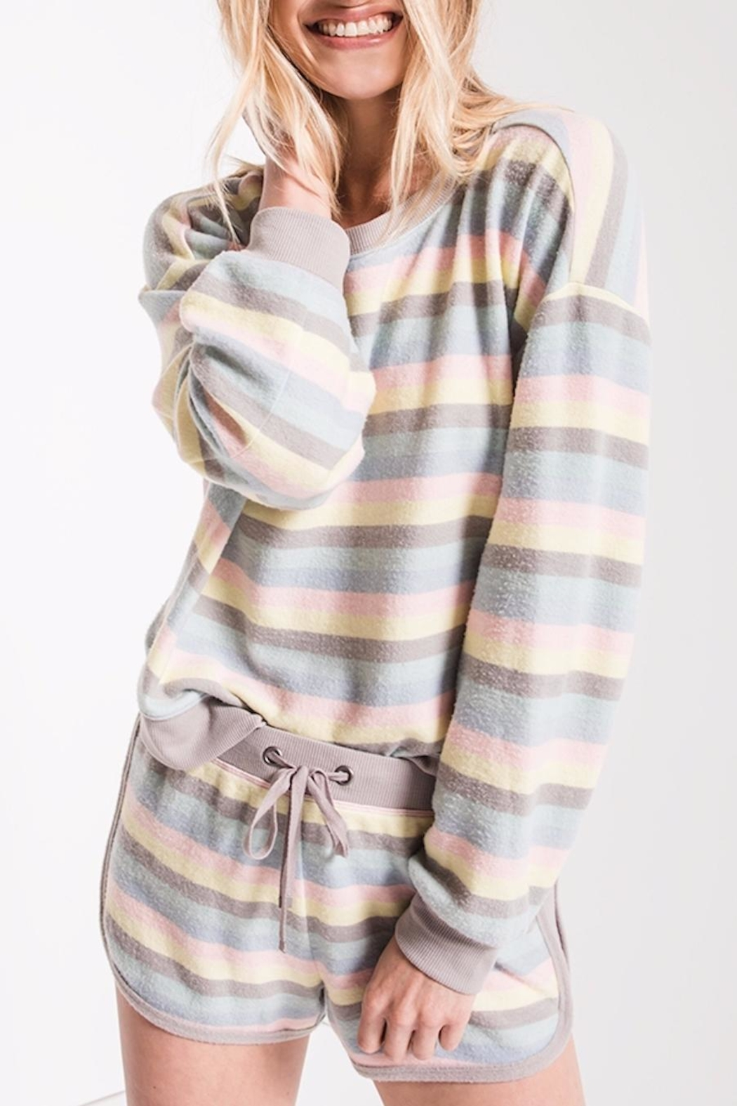 z supply Rainbow Stripe Pullover - Main Image