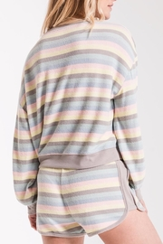 z supply Rainbow Stripe Pullover - Back cropped