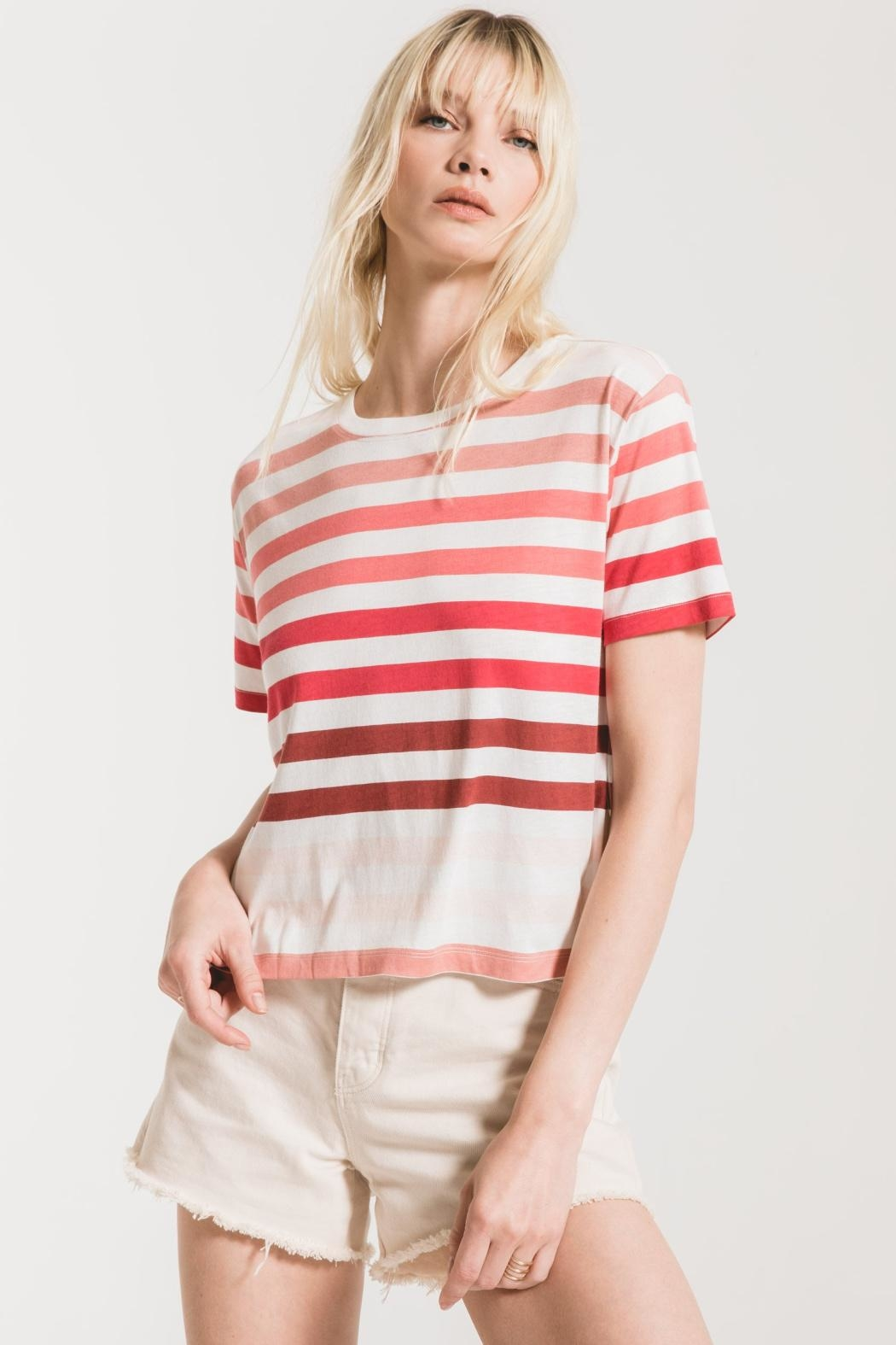 Z Supply  Rainbow Stripe Tee - Back Cropped Image