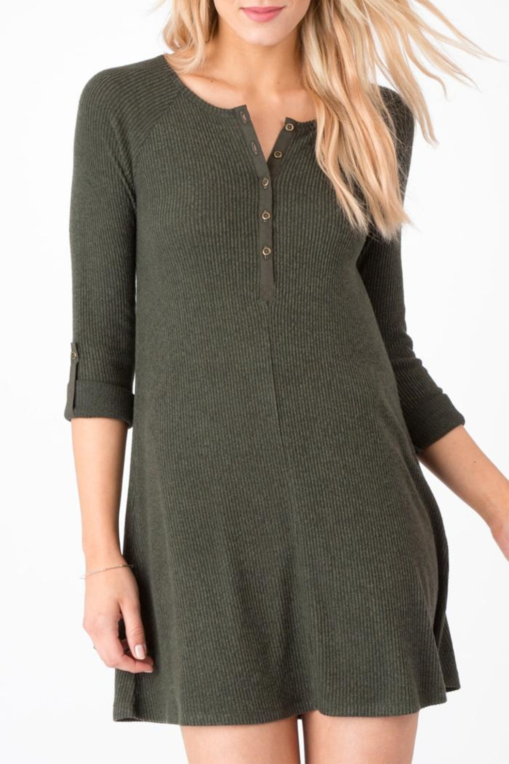 z supply Ribbed Shirt Dress - Front Cropped Image
