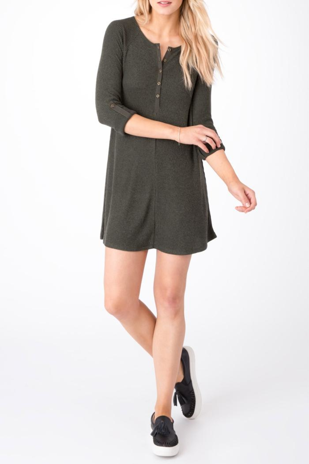 z supply Ribbed Shirt Dress - Back Cropped Image