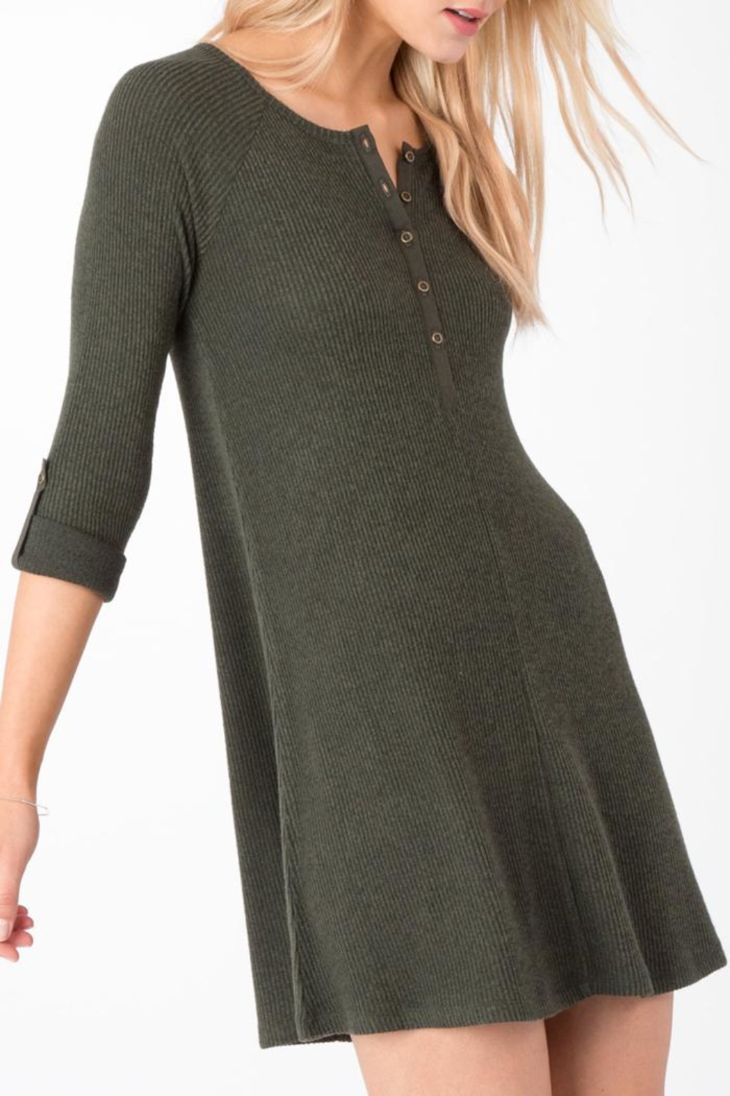 z supply Ribbed Shirt Dress - Side Cropped Image