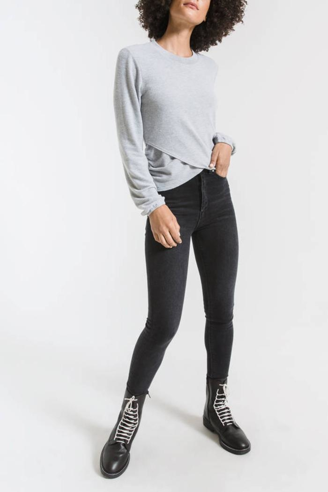 z supply Runched Long-Sleeve Top - Front Full Image