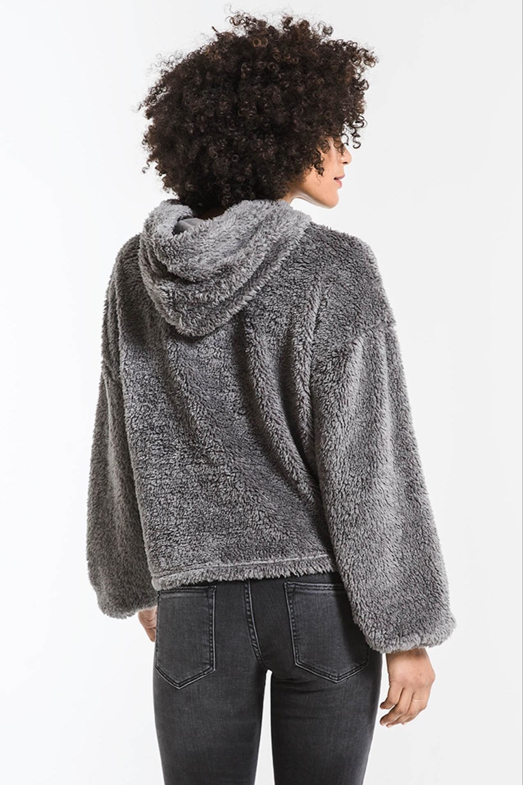 z supply Sherpa Pullover Hoodie - Back Cropped Image