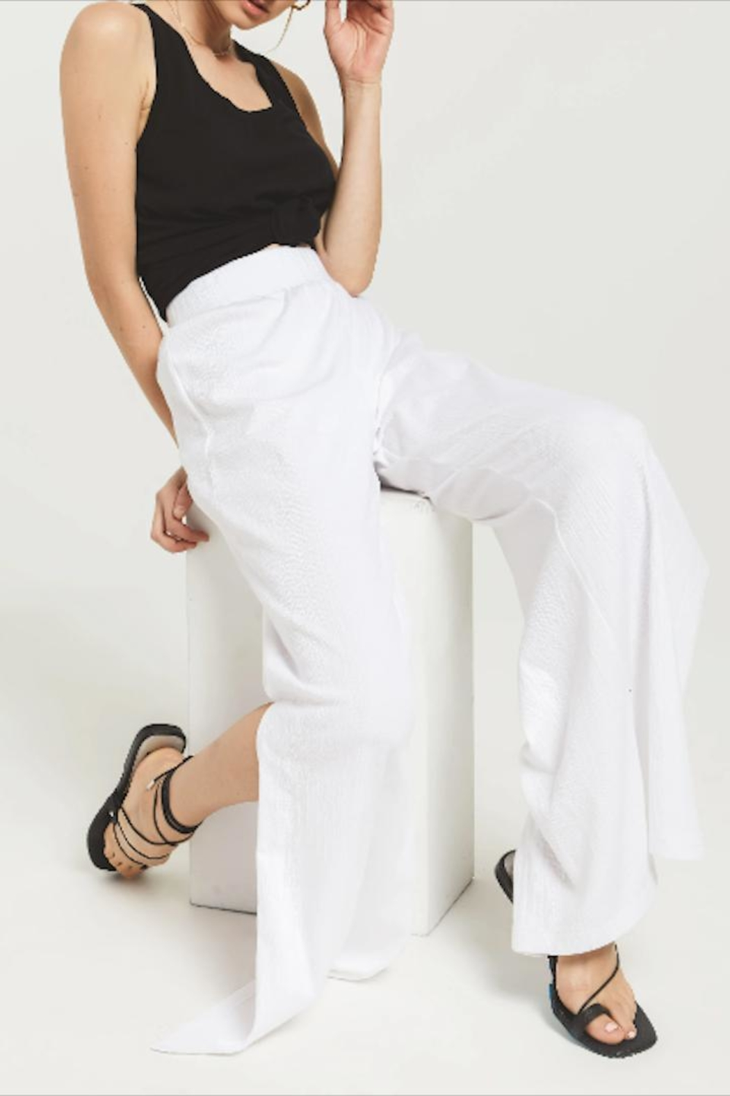 z supply Slitted Wide-Leg Pant - Front Full Image
