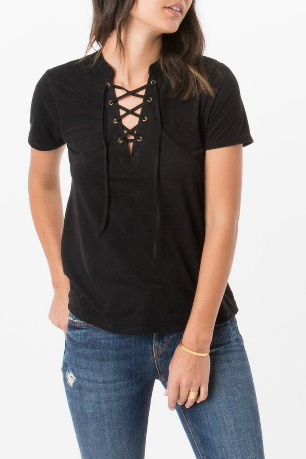 z supply Suede Lace Up Top - Main Image
