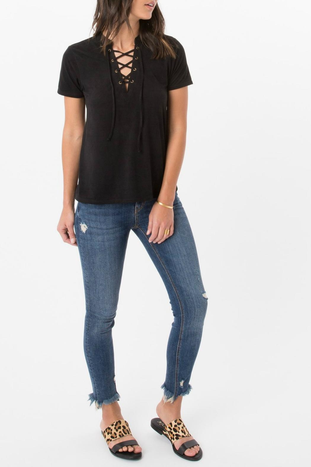 z supply Suede Lace Up Top - Back Cropped Image