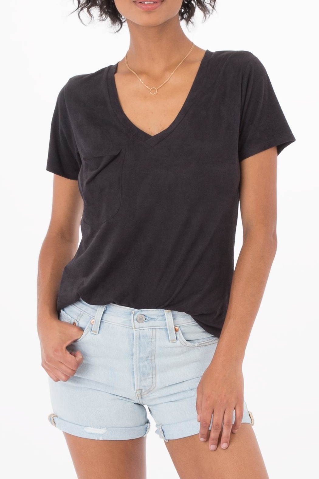 z supply Suede Pocket Tee - Side Cropped Image