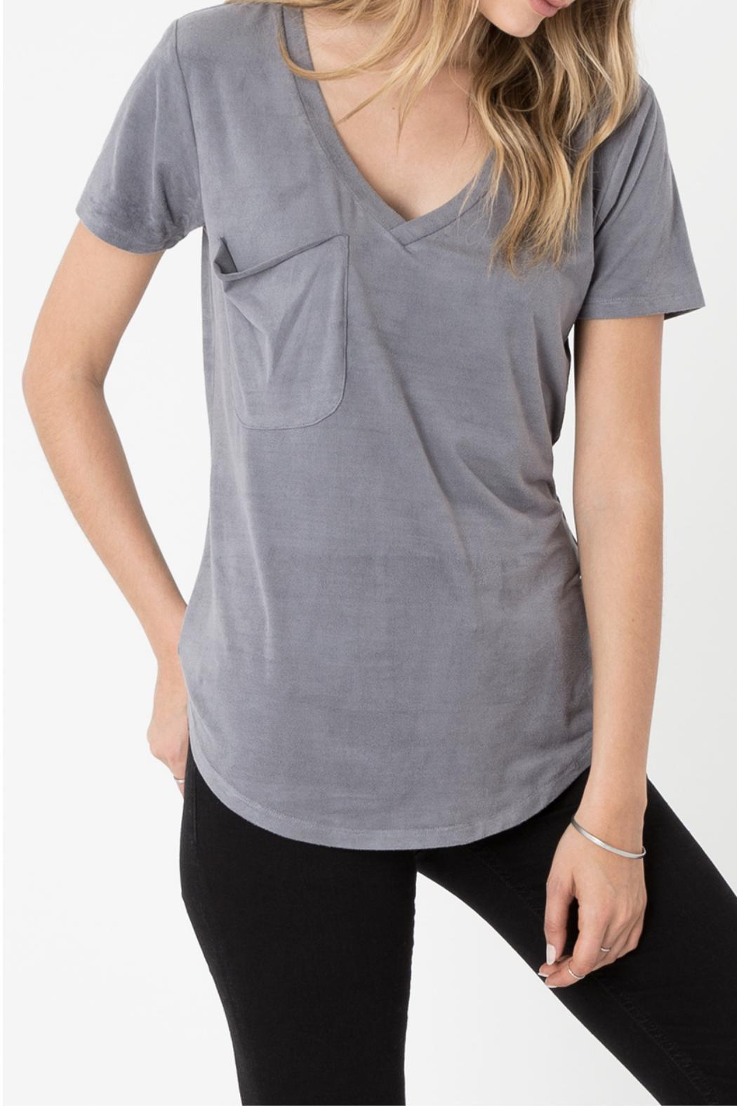 z supply Suede Pocket Tee - Front Cropped Image