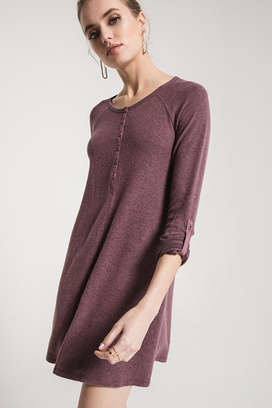 z supply Sweater Henley Dress - Back Cropped Image