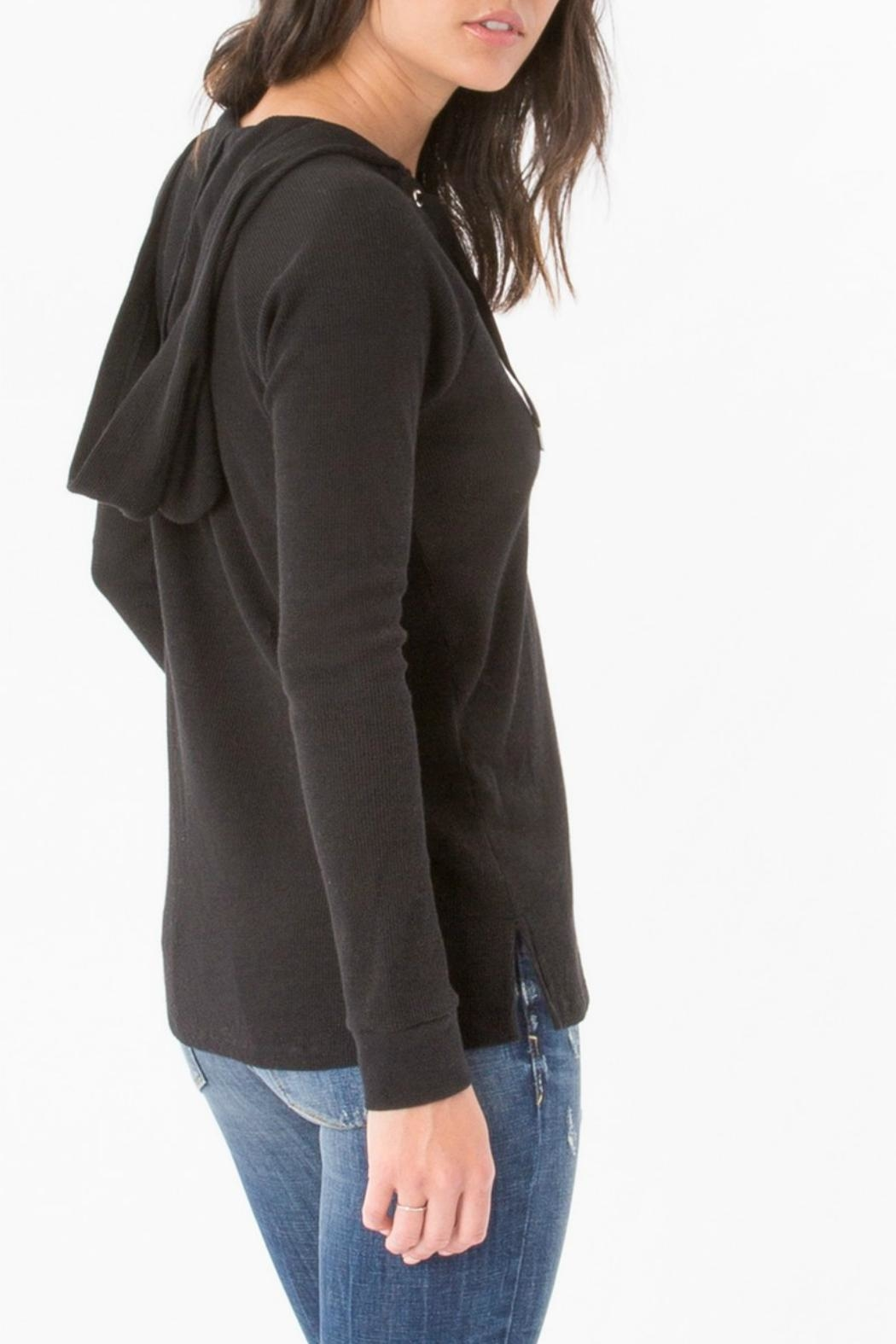 z supply Thermal Lace Up Sweater - Side Cropped Image