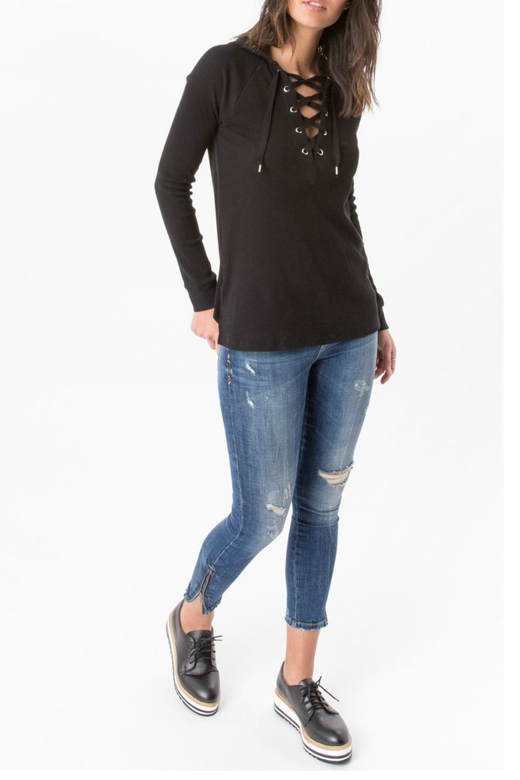 z supply Thermal Lace Up Sweater - Back Cropped Image