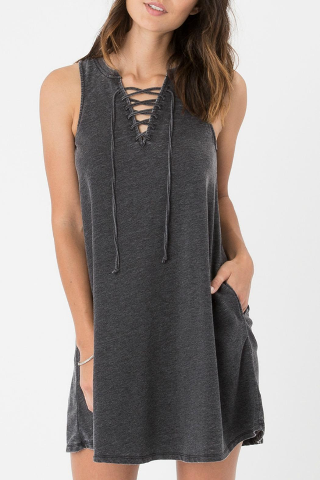 z supply Lace-Up Mini Dress - Front Cropped Image