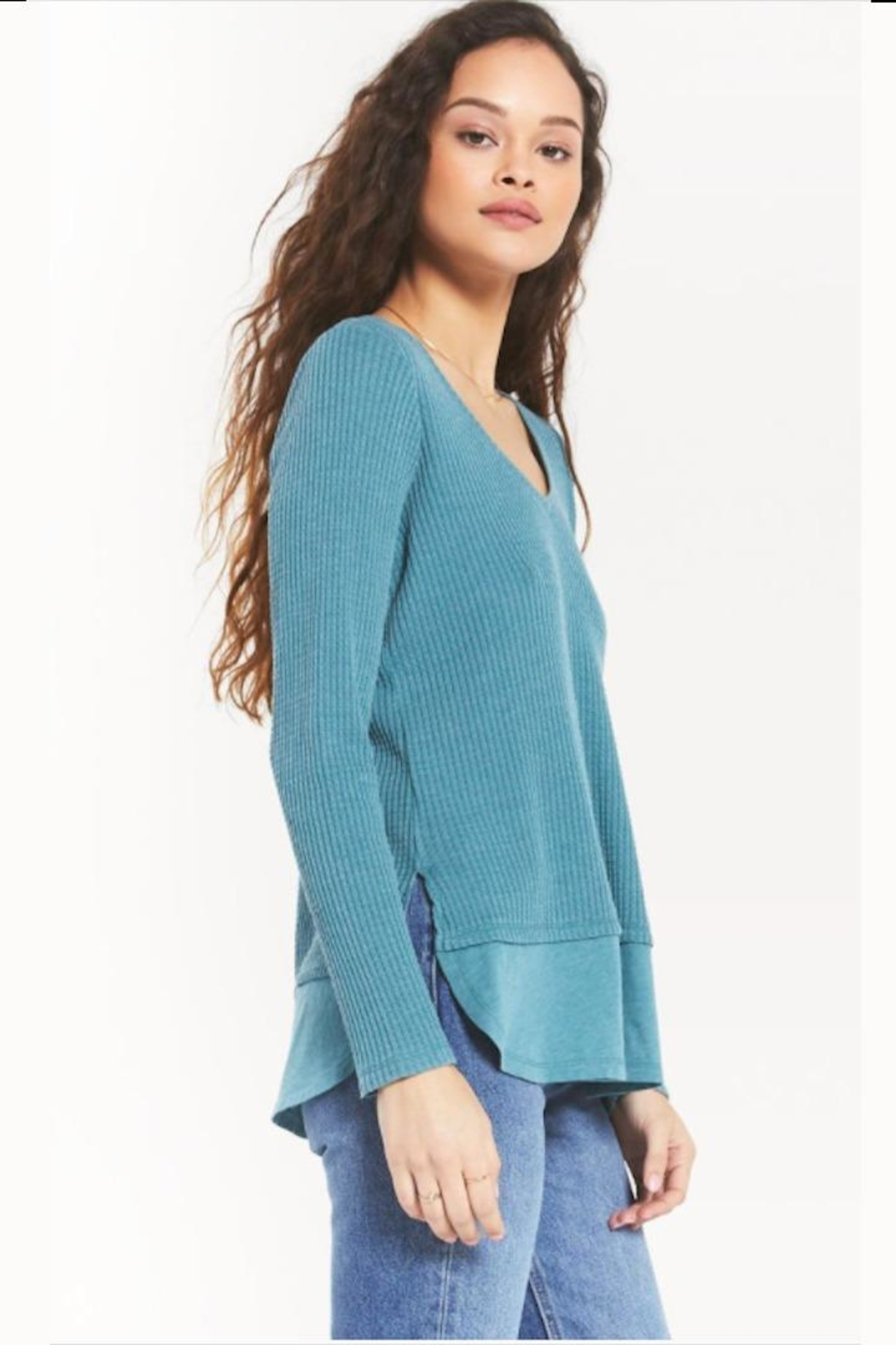 z supply V-Neck Thermal Tunic - Front Cropped Image