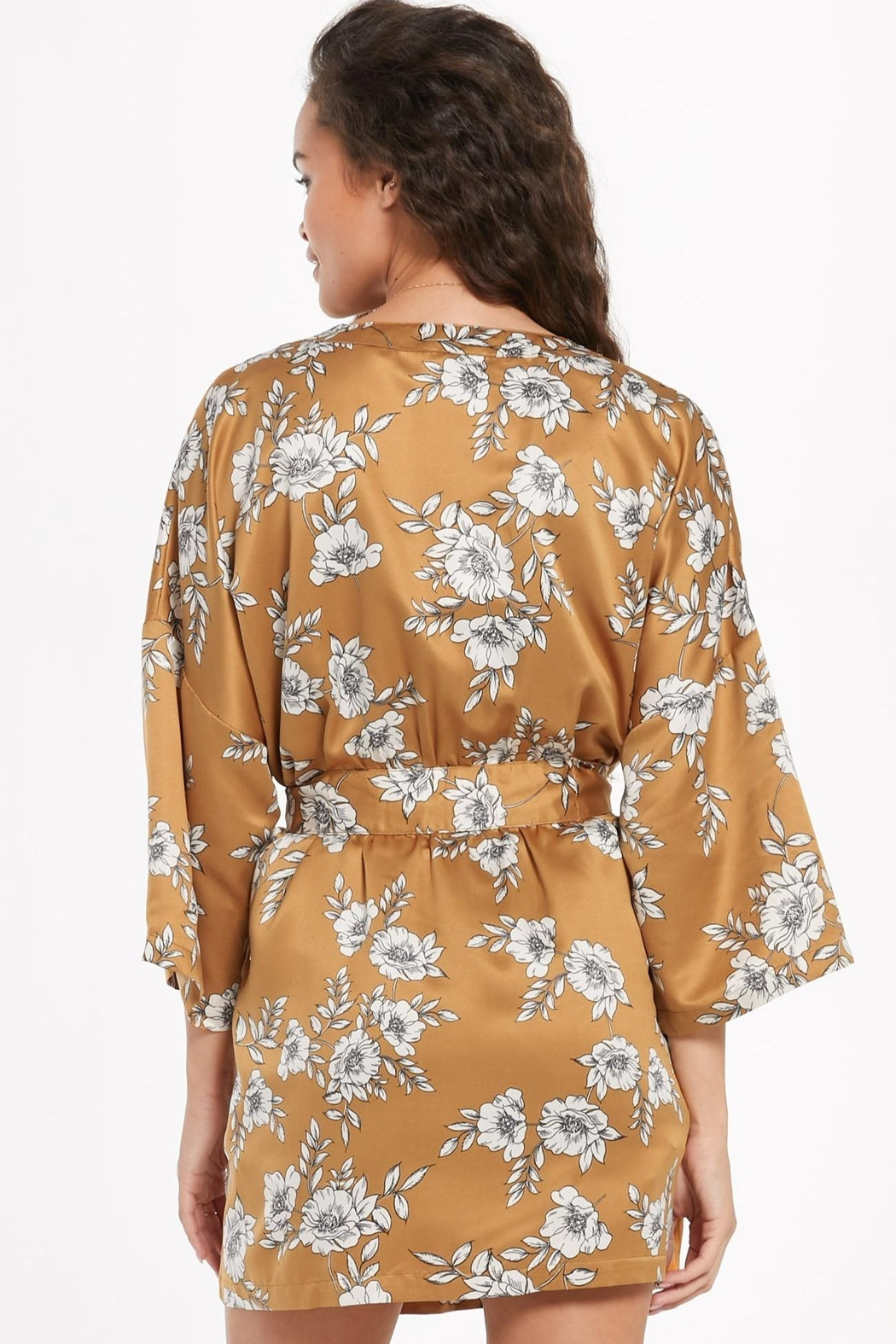 z supply Vacay Floral Satin Robe - Front Full Image