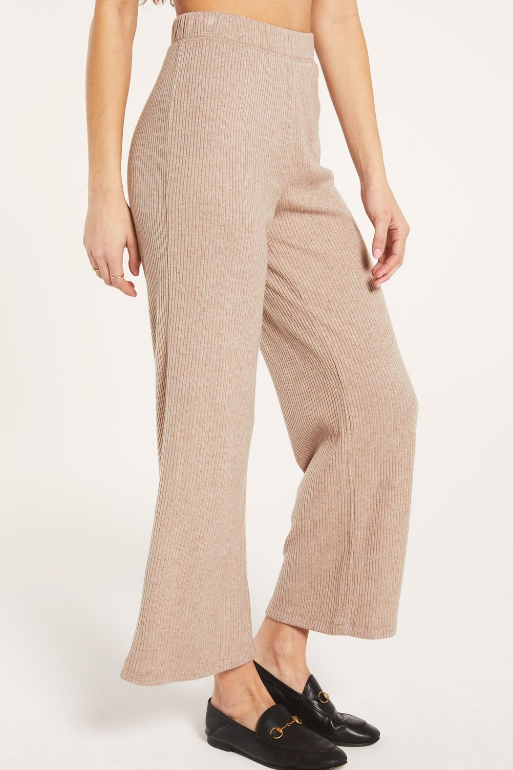 z supply Wide-Leg Ribbed Pant - Back Cropped Image